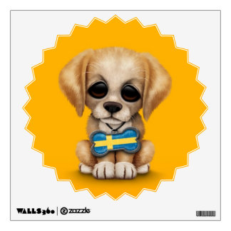 Cute Puppy with Swedish Flag Dog Tag, yellow Wall Decal