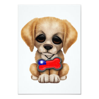 Cute Puppy with Taiwanese Flag Dog Tag 3.5x5 Paper Invitation Card