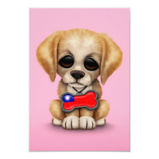 Cute Puppy with Taiwanese Flag Dog Tag, pink 3.5x5 Paper Invitation Card