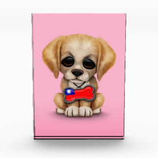 Cute Puppy with Taiwanese Flag Dog Tag, pink Acrylic Award