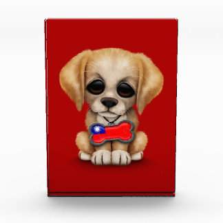 Cute Puppy with Taiwanese Flag Dog Tag, red Awards