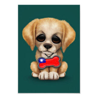 Cute Puppy with Taiwanese Flag Dog Tag, teal 3.5x5 Paper Invitation Card