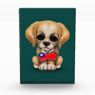 Cute Puppy with Taiwanese Flag Dog Tag, teal Award