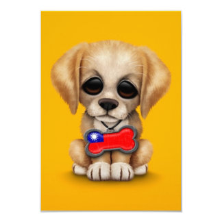 Cute Puppy with Taiwanese Flag Dog Tag, yellow 3.5x5 Paper Invitation Card