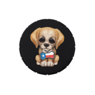 Cute Puppy with Texas Flag Dog Tag, black Candy Tin