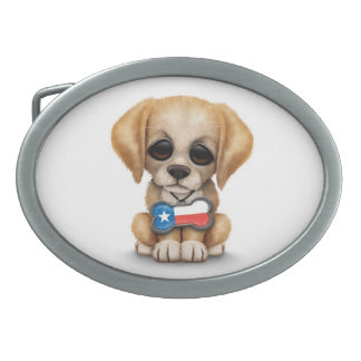 Cute Puppy with Texas Flag Dog Tag, white Belt Buckles
