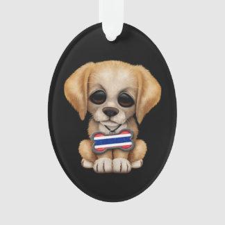 Cute Puppy with Thai Flag Dog Tag, black