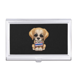 Cute Puppy with Thai Flag Dog Tag, black Business Card Holders