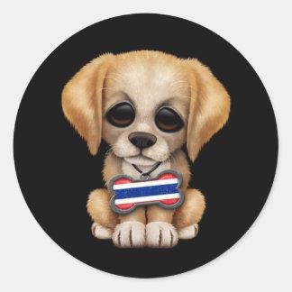 Cute Puppy with Thai Flag Dog Tag, black Classic Round Sticker