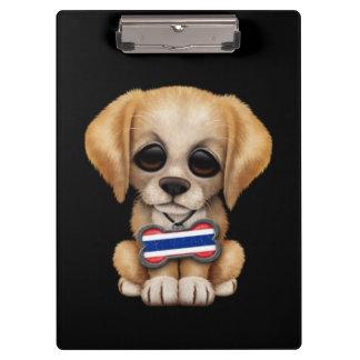 Cute Puppy with Thai Flag Dog Tag, black Clipboard