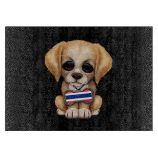 Cute Puppy with Thai Flag Dog Tag, black Cutting Boards