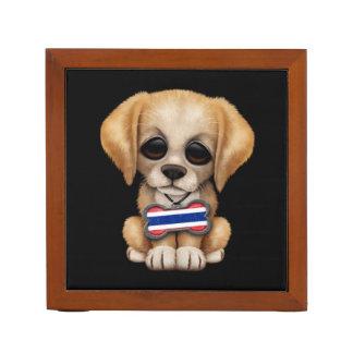 Cute Puppy with Thai Flag Dog Tag, black Desk Organizers