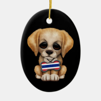 Cute Puppy with Thai Flag Dog Tag, black Double-Sided Oval Ceramic Christmas Ornament