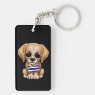 Cute Puppy with Thai Flag Dog Tag, black Double-Sided Rectangular Acrylic Keychain