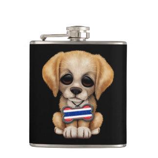 Cute Puppy with Thai Flag Dog Tag, black Flask