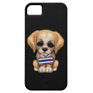 Cute Puppy with Thai Flag Dog Tag, black iPhone SE/5/5s Case