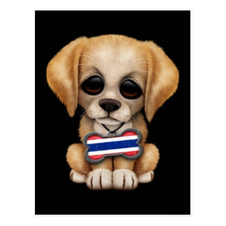 Cute Puppy with Thai Flag Dog Tag, black Postcard