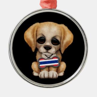 Cute Puppy with Thai Flag Dog Tag, black Round Metal Christmas Ornament