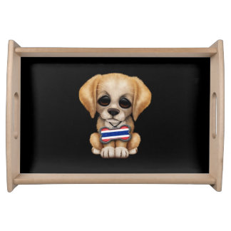 Cute Puppy with Thai Flag Dog Tag, black Serving Platter