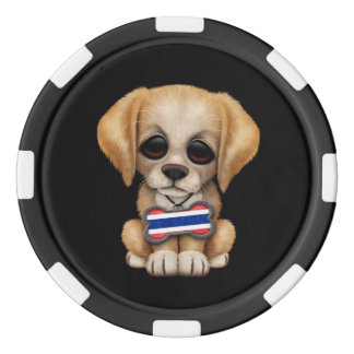 Cute Puppy with Thai Flag Dog Tag, black Set Of Poker Chips
