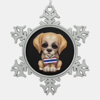 Cute Puppy with Thai Flag Dog Tag, black Snowflake Pewter Christmas Ornament