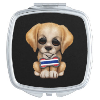 Cute Puppy with Thai Flag Dog Tag, black Travel Mirror