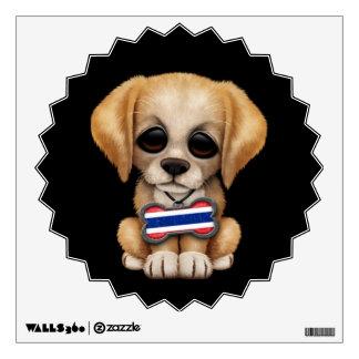 Cute Puppy with Thai Flag Dog Tag, black Wall Decal
