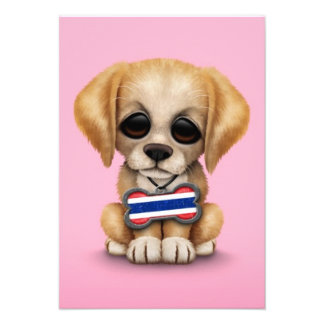 Cute Puppy with Thai Flag Dog Tag pink Announcements