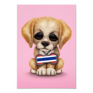 "Cute Puppy with Thai Flag Dog Tag, pink 3.5"" X 5"" Invitation Card"