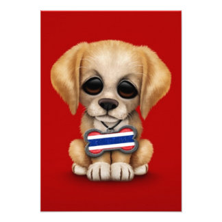 Cute Puppy with Thai Flag Dog Tag red Personalized Invitation