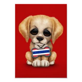 "Cute Puppy with Thai Flag Dog Tag, red 3.5"" X 5"" Invitation Card"