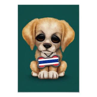 "Cute Puppy with Thai Flag Dog Tag, teal 3.5"" X 5"" Invitation Card"