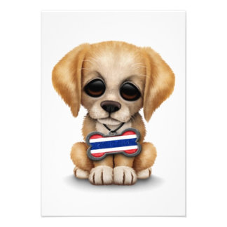 Cute Puppy with Thai Flag Dog Tag white Personalized Announcement