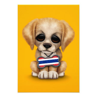 Cute Puppy with Thai Flag Dog Tag yellow Custom Announcement