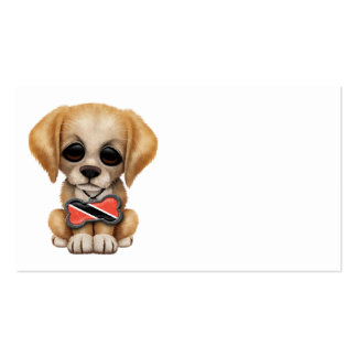 Cute Puppy with Trinidad and Tobago Flag Dog Tag Business Card
