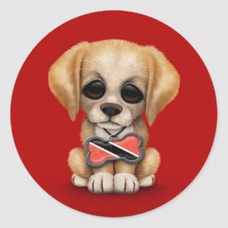 Cute Puppy with Trinidad and Tobago Flag, red Classic Round Sticker