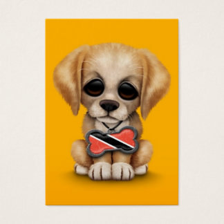 Cute Puppy with Trinidad and Tobago Flag, yellow Business Card