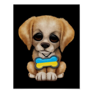 Cute Puppy with Ukrainian Flag Dog Tag black Posters