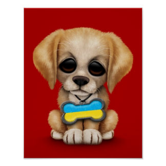 Cute Puppy with Ukrainian Flag Dog Tag red Poster