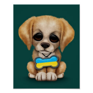 Cute Puppy with Ukrainian Flag Dog Tag teal Poster