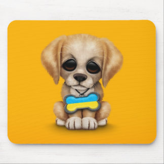 Cute Puppy with Ukrainian Flag Dog Tag, yellow Mouse Pad