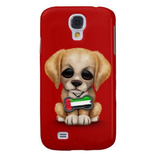Cute Puppy with United Arab Emirates Flag, red Galaxy S4 Case