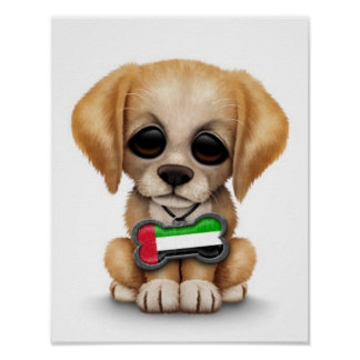 Cute Puppy with United Arab Emirates Flag white Print