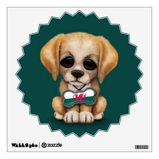 Cute Puppy with Welsh Flag Dog Tag, teal Wall Sticker