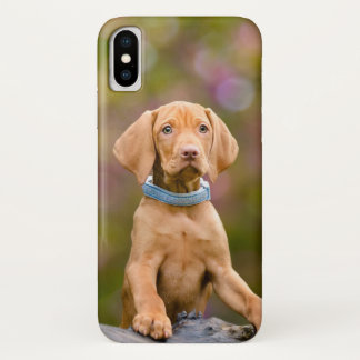Cute puppyeyed Hungarian Vizsla Dog Puppy Photo // iPhone X Case