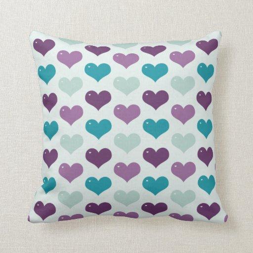 Cute Aqua Throw Pillows : Cute Purple and Aqua Hearts Pillow Zazzle