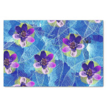 Cute Purple and Blue Artistic Floral Pattern Tissue Paper