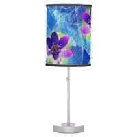 Cute Purple and Blue Artsy Floral Pattern Desk Lamp