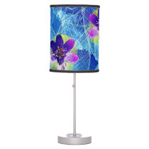 Cute Purple and Blue Artsy Floral Pattern Desk Lamp