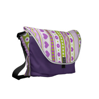 Cute Purple and Green Valentine's  Messenger Bag